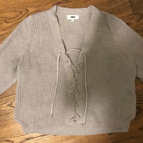 1b7218531a LF Sweaters - LF Grey Lace Up Cropped Sweater! Small